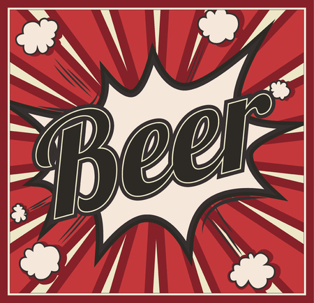 Retro style Beer signboard Background. Boom comic book explosion, beautiful vintage sign, abstract template with text Illustration