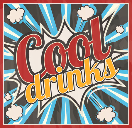 writing western: Retro style Cool drinks signboard Background. Boom comic book explosion vector template