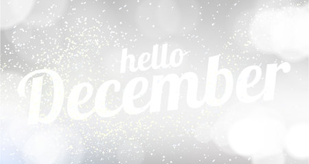 Hello December white vector card. modern soft color background with snow Illustration