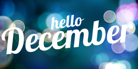 Hello December blue vector card. modern soft color background with snow Illustration