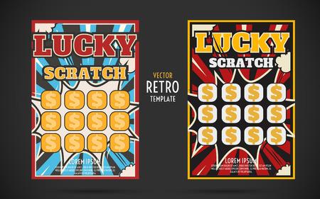 scratch off lottery card retro ticket. Vector color design template Vettoriali