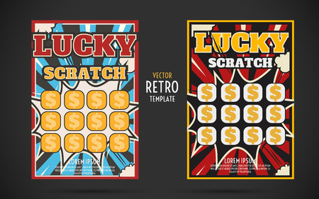 scratch off lottery card retro ticket. Vector color design template Ilustração