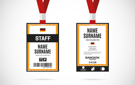 lanyard: Event staff id card set with lanyard. vector design and text template illustration