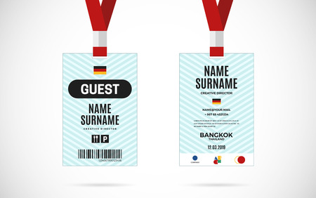 lanyard: Event Guest id card set with lanyard. vector design and text template illustration