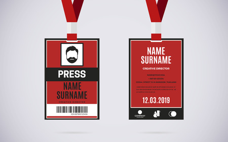 congress: Event Press id card set with lanyard. vector design and text template illustration