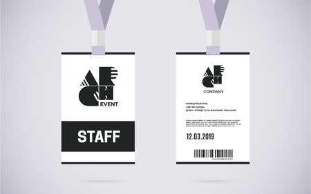 event: Event staff id card set with lanyard. vector design and text template illustration