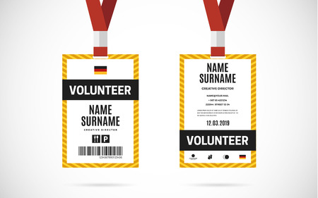 lanyard: Event volunteer id card set with lanyard. vector design and text template illustration