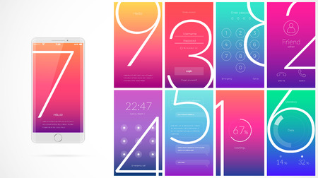 Modern UI, GUI screen vector design for mobile app with UX and flat web icons. Wireframe kit for Lock Screen, Login page, Enter Passcode, User call, Application Loading, Text Messages and Stats Chart. Illustration