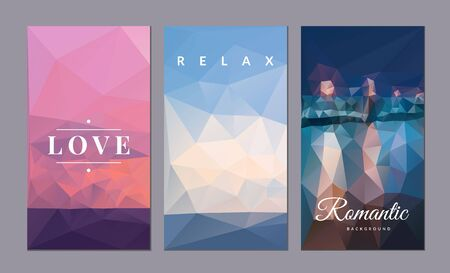 Romantic vector card set. Creative vector background design for Wedding poster, Birthday card, Party invitation, Valentine's day placard, brochure, flyer