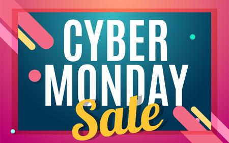 Cyber monday Big sale banner color design. Vector illustration template Illustration