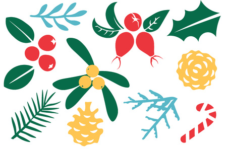 patten: Vintage Merry Christmas And Happy New Year decorations. Berries, sprigs and leaves stylish vector illustration . Good for cards, posters and banner design Illustration