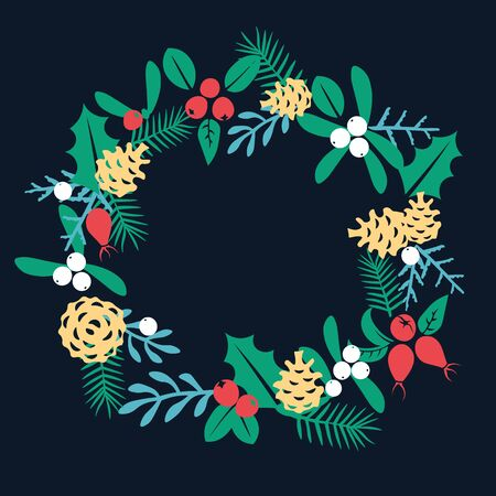 patten: Vintage Merry Christmas And Happy New Year . Berries, sprigs and leaves stylish vector illustration on winter greeting card. Good for cards, posters and banner design Illustration