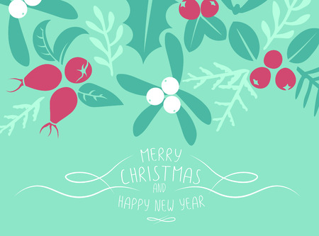 patten: Vintage Merry Christmas And Happy New Year background. Berries, sprigs and leaves stylish vector illustration on winter greeting card. Good for cards, posters and banner design