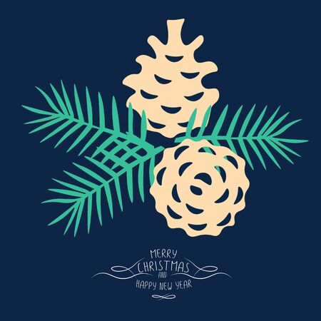 patten: Vintage Merry Christmas And Happy New Year background. pine cones and spruce twigs stylish vector illustration on winter greeting card. Good for cards, posters and banner design