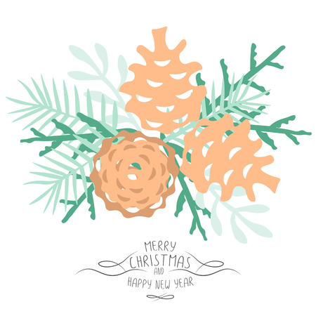 Vintage Merry Christmas And Happy New Year background. pine cones and spruce twigs stylish vector illustration on winter greeting card. Good for cards, posters and banner design