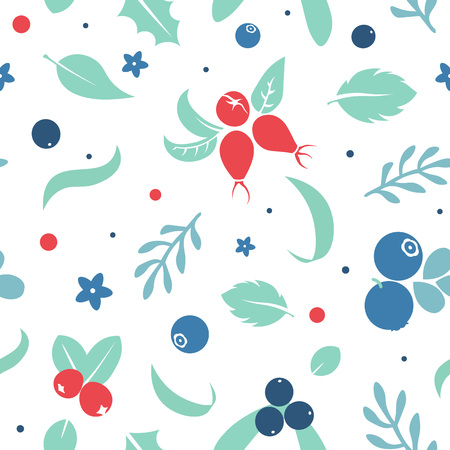 Vector flat flowers, leaves and berries icons silhouette seamless pattern. Cute bright color design for stickers, labels, tags, gift wrapping paper, greeting cards, posters and banner design