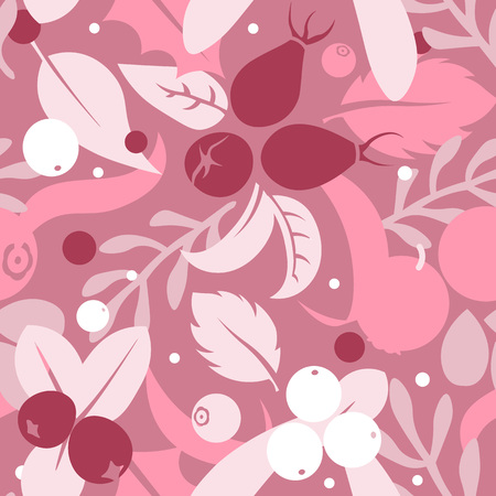cowberry: Vector flat flowers, leaves and berries icons silhouette seamless pattern. Cute bright color design for stickers, labels, tags, gift wrapping paper, greeting cards, posters and banner design