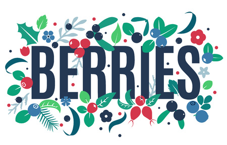Vector flat flowers, leaves and berries color silhouette background. Creative cute bright beautiful design for stickers, labels, tags, greeting cards, posters and banner design