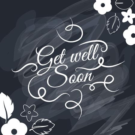 Get well soon Vector belettering silhouet achtergrond. Creatieve schattige mooi ontwerp voor stickers, etiketten, labels, wenskaarten, posters en banner ontwerp