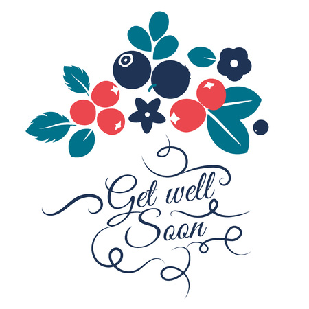 Vector flat flowers, leaves and berries color silhouette design. Get well soon Creative design illustration