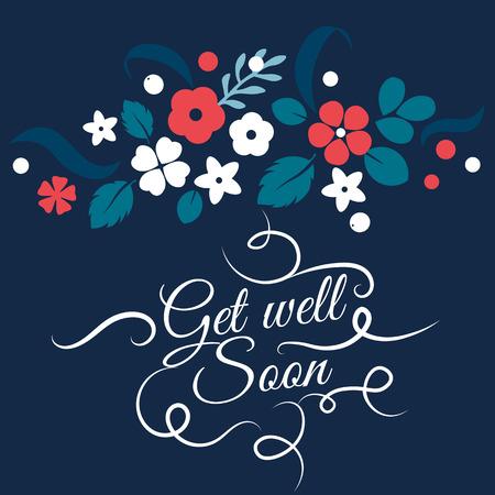 Vector flache Blüten, Blätter und Beeren Farbe Silhouette-Entwurf. Gute Besserung Kreatives Design Illustration Standard-Bild - 69111945