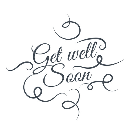 Get well soon Vector lettering silhouette design. Creative cute beautiful design for stickers, labels, tags, greeting cards, posters and banner design