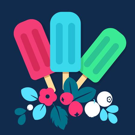 sherbet: Ice cream vector creative illustration, modern composition isolated color design
