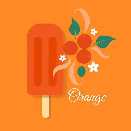 sherbet: Ice cream vector creative illustration, folk style isolated color design template