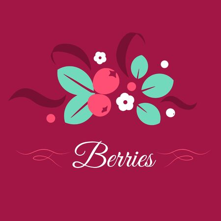 Berries vector creative illustration, folk style isolated color design template