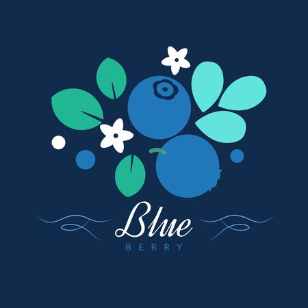 Blueberry vector creative illustration, folk style isolated color design template Illustration