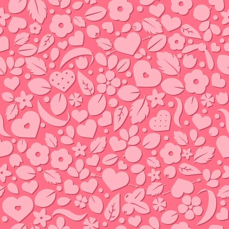 Vector love background with hearts and flowers. Creative seamless pattern design for gift wrapping paper, party invitation, greeting card, wallpaper or web header foreground
