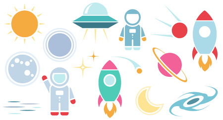 Vector flat cosmos design background. Cute template with Astronaut, Spaceship, Rocket, Moon, Black Hole, Stars Vectores