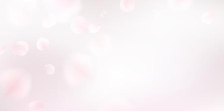 białe sakura spadające płatki vector background. 3D ilustracji romantyczna