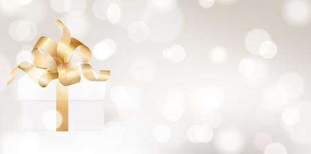 Golden color ribbon bow on white gift box vector background. 3D romantic illustration