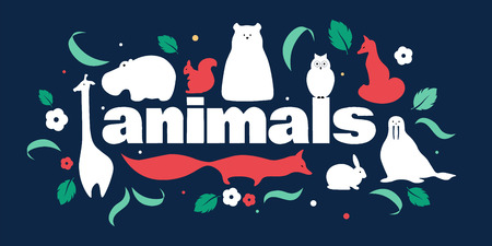 Cute panoramic pattern with fox, giraffe, hippo, polar bear, squirrel, rabbit Illustration