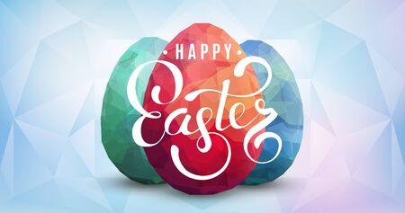stilish: Three color eggs on aquamarine background. Vector Happy Easter polygonal design.