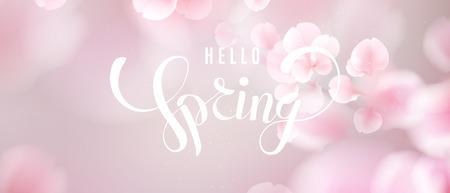 Fondo di vettore dei petali di caduta rosa di sakura. Illustrazione romantica 3D con testo Ciao primavera. Vettoriali
