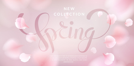 Pink sakura falling petals vector background. 3D romantic illustration with Spring text. Ilustração