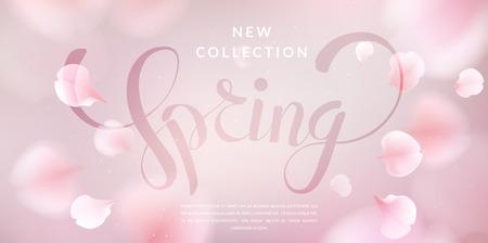 Roze sakura dalende bloemblaadjes vector achtergrond. 3D-romantische illustratie met lente tekst.