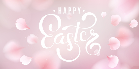 Pink sakura falling petals vector background. 3D romantic illustration with Happy Easter.