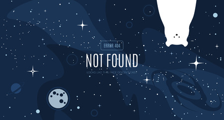 Vector flat cosmos design background with Error 404, page not found text. Cute template with Polar bear, Moon, Black Hole, Stars in Outer space