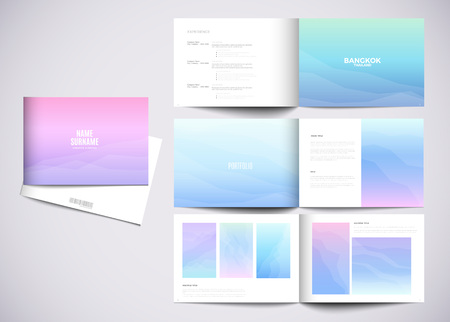 Graphic design studio portfolio template. White creative pages and cover with your text, photo or illustrations.