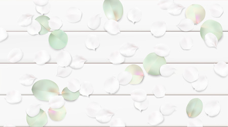 White pastel watercolor background. Soft green color leaves on wooden table illustration template Ilustração