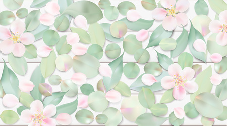White pastel watercolor background. Soft green color leaves and pink flowers on table illustration template Ilustração