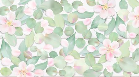 Witte pastel aquarel achtergrond. Zachte groene kleurenbladeren en roze bloemen op het malplaatje van de lijstillustratie Stockfoto - 74166035
