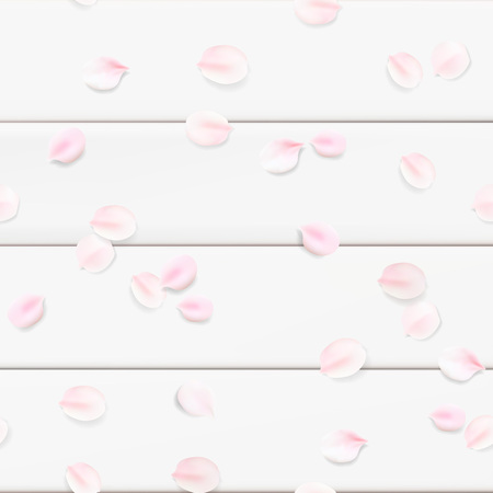 White color pastel spring macro background. Rose flower blossom petals on wooden table seamless pattern illustration template Çizim