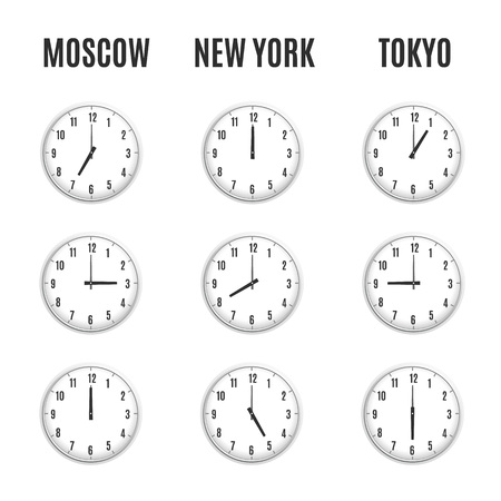 timezone: Time zones clocks vector template. Vector illustration design