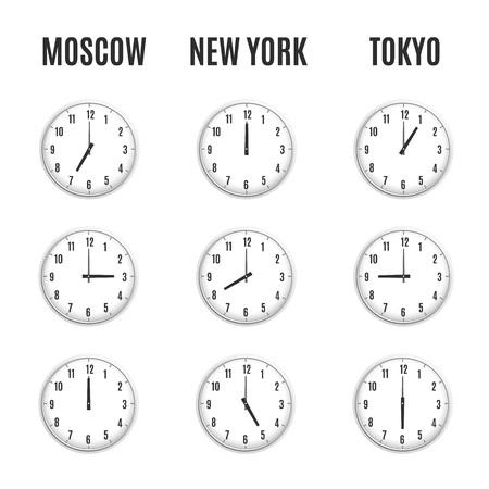 Uhren Mit Zeitzone. Uhren Zeitzonen. Weltzeituhr, Zeitdifferenz In ...