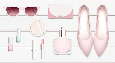 makeup products: Fashion accessories collection. Sunglasses, lipstick, woman shoes, perfume. Spring style organic cosmetics set isolated background. White and pink soft color romantic vector illustration design.