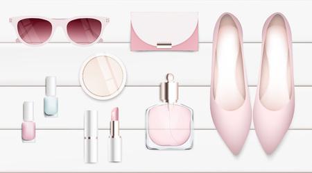 Mode-accessoires collectie. Zonnebril, lippenstift, vrouwenschoenen, parfum. De organische schoonheidsmiddelen van de de lentestijl geplaatst geïsoleerde achtergrond. Het witte en roze ontwerp van de zachte kleuren romantische vectorillustratie.